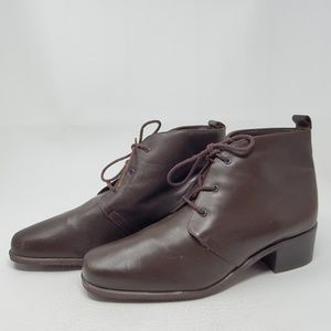 Naturalizer Shoes - Vtg 80s Brown Leather Granny Boots Lace Up 7.5 N